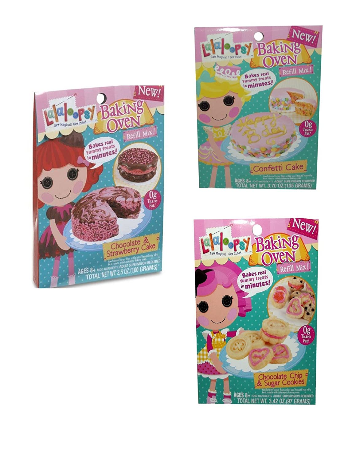 Lalaloopsy Baking Oven Refill Mix Chocolate Strawberry Cake, Chocolate Chip & Sugar Cookie & Confetti Cake Complete Set of 3