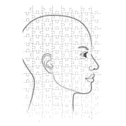 Puzzle Dessin Noir Et Blanc Dun Profil De Femme Avec Chauve