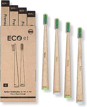 ECOet Cepillos de Dientes de Bambú Premium con Cerdas Suaves para ...