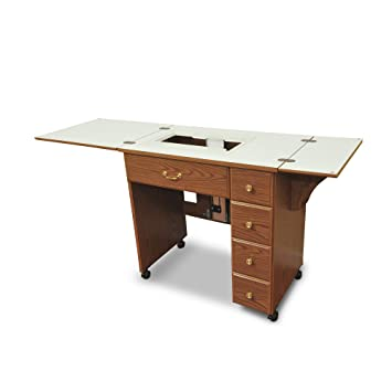 Sewing Table On Wheels.Arrow 900 Auntie Sewing Cutting Quliting And Crafting Portable Sewing Table With Wheels And Airlift Oak Finish
