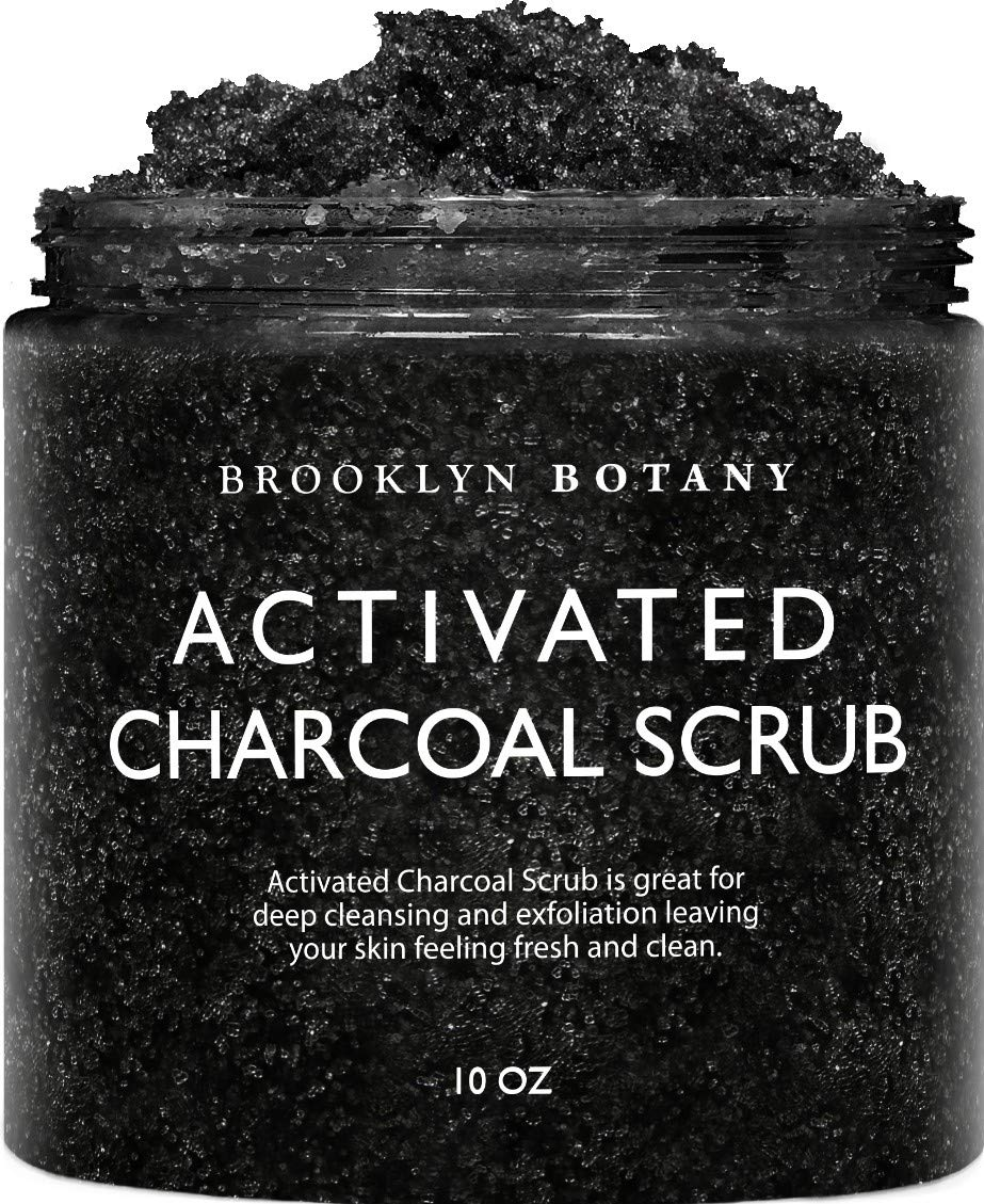Premium Activated Charcoal Scrub 10 oz - For Deep Cleansing & Exfoliation - Pore Minimizer & Reduces Wrinkles, Acne Scars, Blackhead Remover & Anti Cellulite Treatment - Body Scrub & Facial Cleanser by Brooklyn Botany (Image #1)