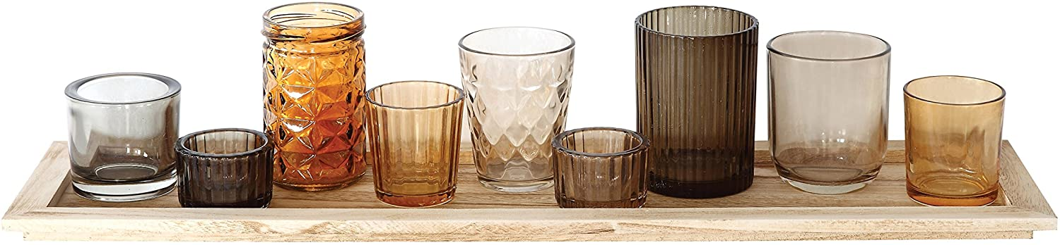Creative Co-op Natural Wood Tray with 9 Unique Glass Votive Candle Holders, 22