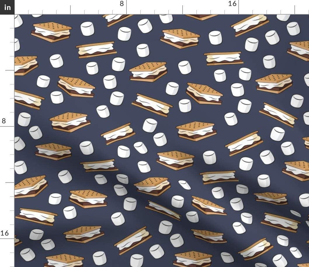 Spoonflower Fabric - Marshmallows Adventure Blue Food Camping Printed on Fleece Fabric by The Yard - Sewing Blankets Loungewear and No-Sew Projects