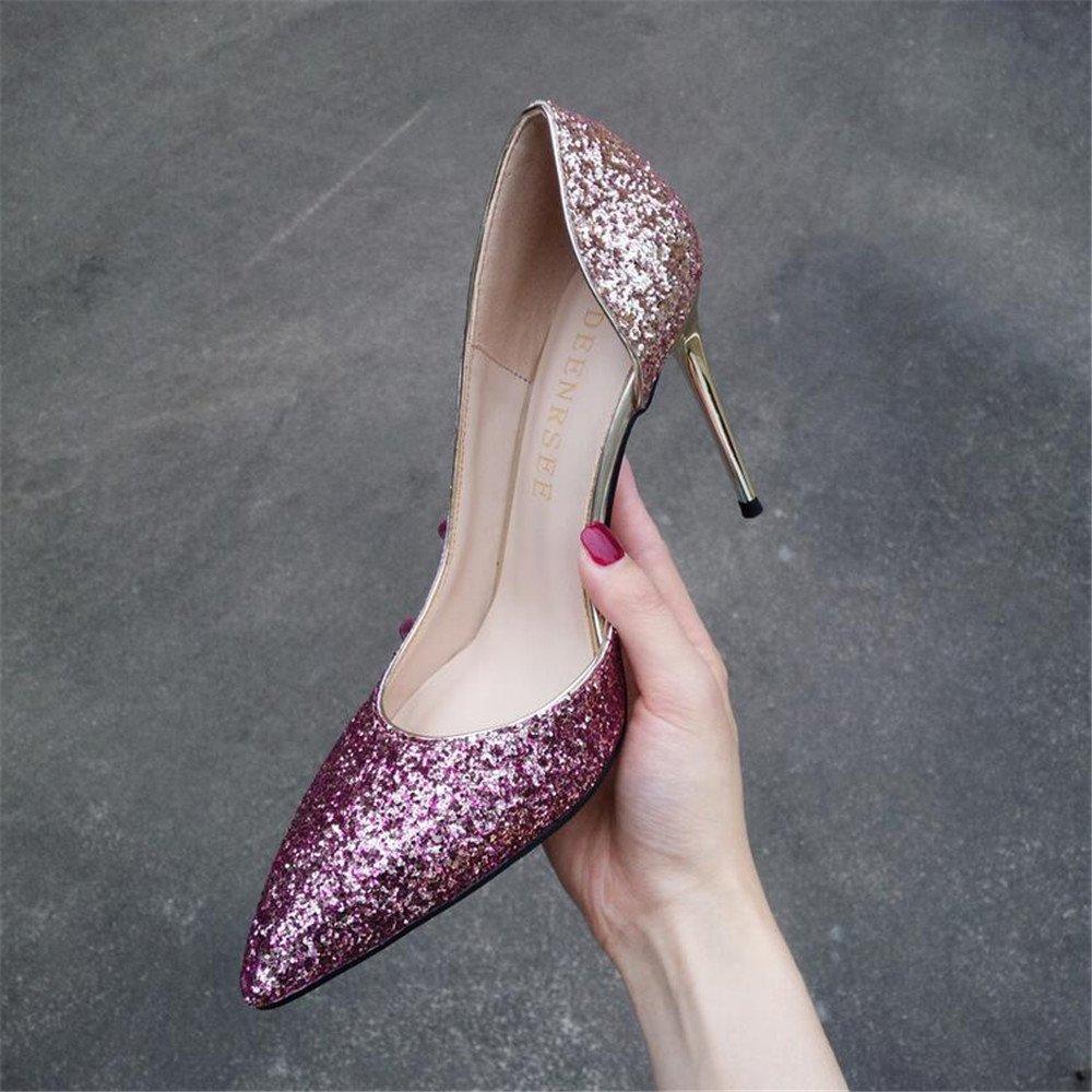Xue Qiqi Court Schuhe Gradient Mädchen Zeigte High Heels Weiblichen Seite Wilden Joker mit Einzelnen Schuhe Schuhe 39 Lila Gold 8CM