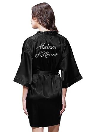 Turquaz Linen Satin Kimono Rhinestone Matron of Honor Robe at Amazon ... 9078461e0