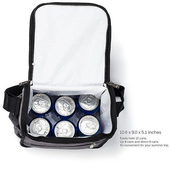 Srotek Bolsa Nevera//M Tama/ño de Rollo de Bag//Ca/ño Seguro Coolbox Organizador//12L 18/latas para Viajes//Picnic//Senderismo