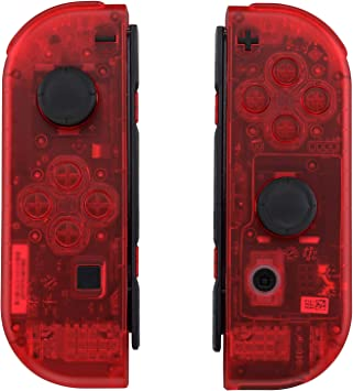eXtremeRate Carcasa Transparente para Joy-con de Nintendo Switch, Funda de Agarre de reemplazo Joycon Shell con Botón Completo para Nintendo Switch No Incluye la Carcasa de la Consola (Rojo): Amazon.es: Electrónica