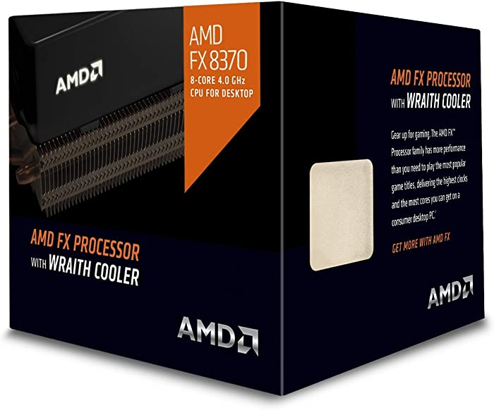 AMD FD8370FRHKHBX 4 GHz FX-8370 Octa-Core Desktop Processor with Wraith Cooler, Black Edition