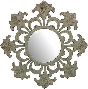 Fetco Home Décor Tesoro Grey Hand Carved Mirror, Gray