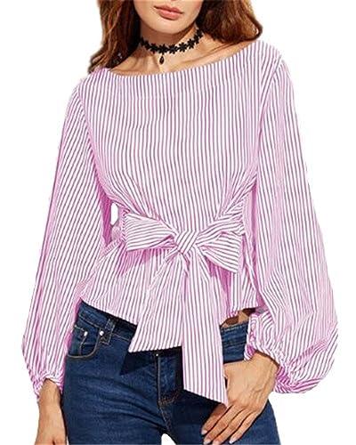 Tayaho Camisetas de manga larga Mujeres Camisa Rayas Gasa Blusa Asimétrico Bonitas Camiseta Corto Un...