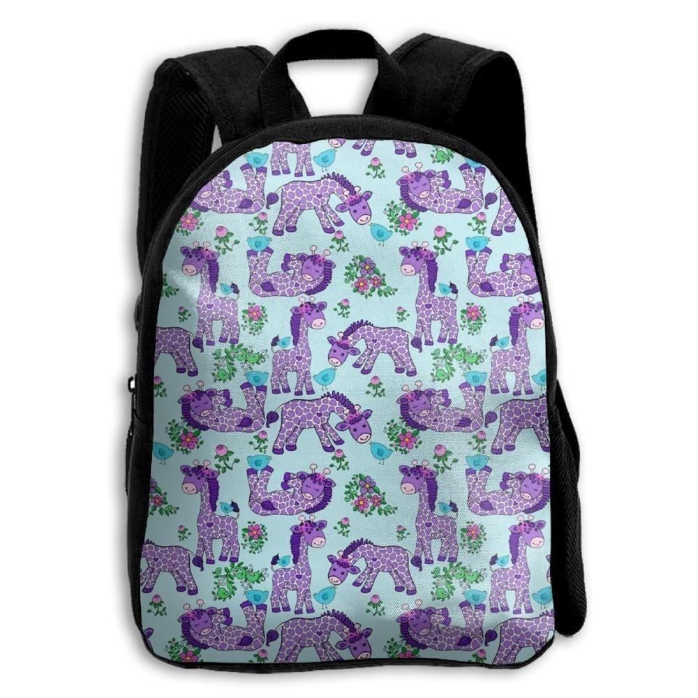 sdeyr79スタイリッシュな子キリンラベンダーパープル学校バックパックBookbags Middle Bags Daypack For Boys Girls   B07FZTNW7Y