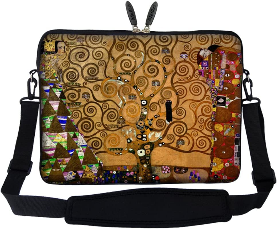 Meffort Inc 17 17.3 inch Neoprene Laptop Sleeve Bag Carrying Case with Hidden Handle and Adjustable Shoulder Strap - Klimt Tree of Life