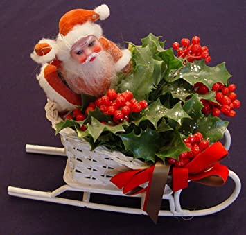 santa in wicker basket style white christmas sleigh decoration 10