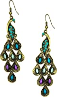 Gold Tone Vintage Peacock Blue Epoxy Crystal Feather Dangle Statement Earrings, 2.25""