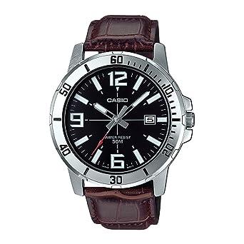 Casio MTP-VD01L-1BV - Reloj Deportivo analógico Casual para Hombre, Acero Inoxidable, Esfera Negra: Amazon.es: Relojes