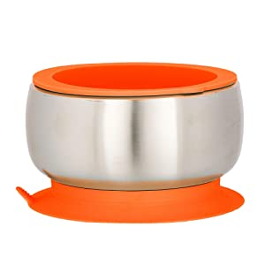 Avanchy Baby Toddler Feeding   Stainless Steel Stay Put Bowl Suction + Soft Container Safe Lid Set   BPA Free   Great Infant Gift Pack (Orange)