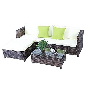 Amazon.de: HENGMEI Gartengarnitur Polyrattan Gartenmöbel Set Lounge ...