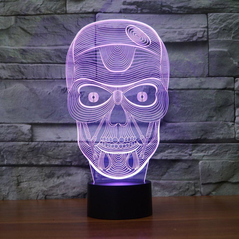 New 3D Skull Nachtlicht Nachtlicht 7/Farbwechsel LED Tischleuchte Kinder Decor Geschenk
