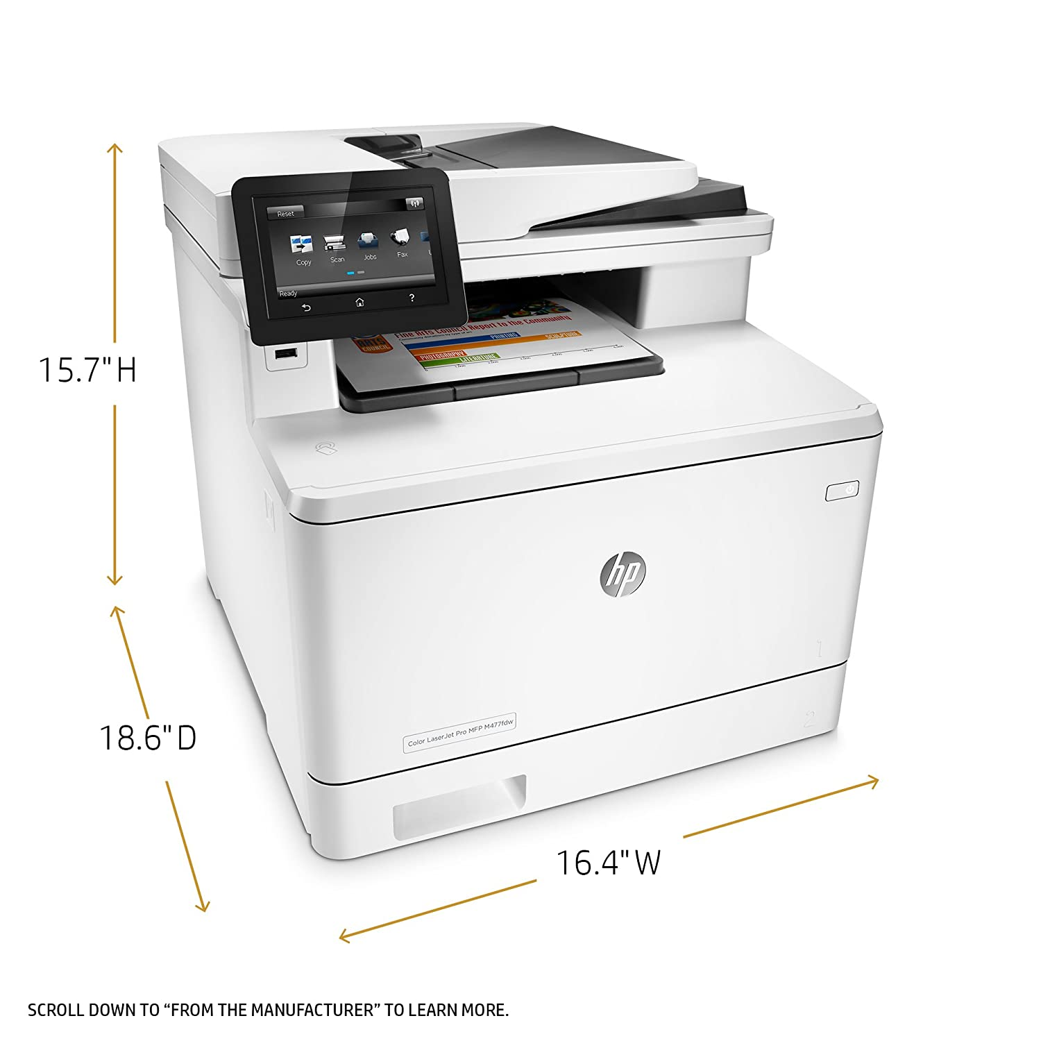 photograph about Laserjet Printable Vinyl titled HP LaserJet Professional M477fdw All-inside-One particular Wi-fi Shade Laser Printer with Double-Sided Printing, Amazon Sprint Replenishment well prepared (CF379A)