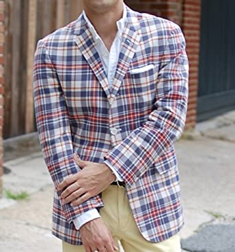 Polo Ralph Lauren Men's Madras Plaid Sport Coat Jacket Blazer, Red ...