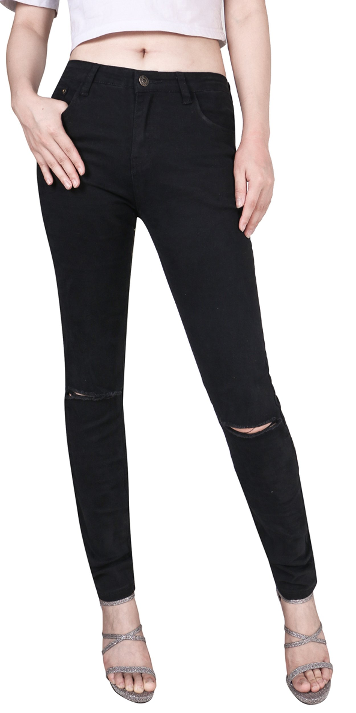 Women's Casual Ripped Holes Skinny Jeans Jeggings Straight Fit Denim Pants (US 0, Black 2)