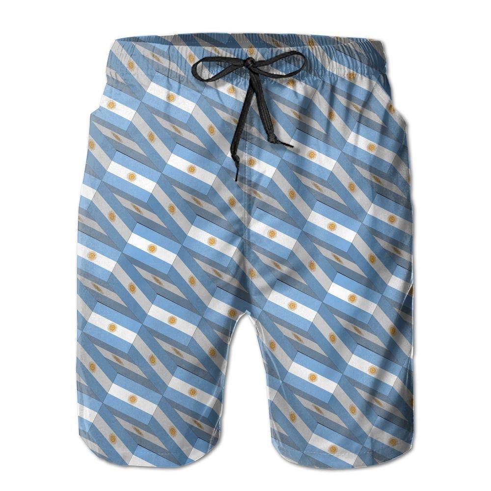 Men's Beach Shorts Swim Trunks Quick Dry Lightweight Short 3D Print Argentina Flag 3D Art Pattern Beach Shorts Adam Original CO. LTD