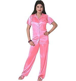 c6be505748 The Orange Tags Ladies Satin Pyjama Set Silky Short Sleeve Girls PJ's  Nightsuit Nightwear 8-