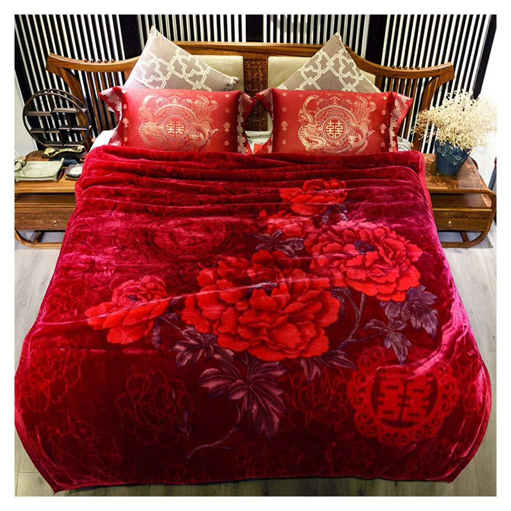 毛布柔らかいふわふわ居心地の良い二重厚い暖かい中国スタイルの赤い結婚式のラッシェルブランケットを投げる200 * 230センチメートル B07J391K7Q