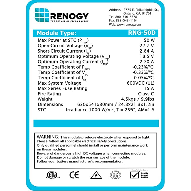 image showing the renogy 50 watt 12 volt monocrystalline solar panel products details