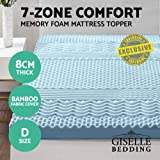 Giselle Bedding Double Size Memory Foam Mattress Topper Mat Pad Underlay Cool Gel Bamboo Fabric Cover 8CM 7-Zone