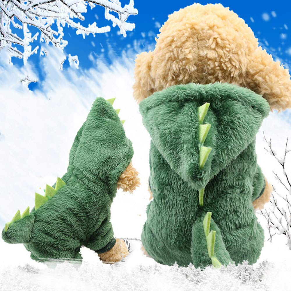 Clothes For Cat Pet Small Dog Doggy Cute Dinosaur Transfiguration Coat Dress Up Dog Vest Winter Dog Apparel Dog Jacket Small Medium Dogs Pet Clothes Sweatshirt Warm Dog Outfits (Green, XXL) by succeedtop (Image #2)