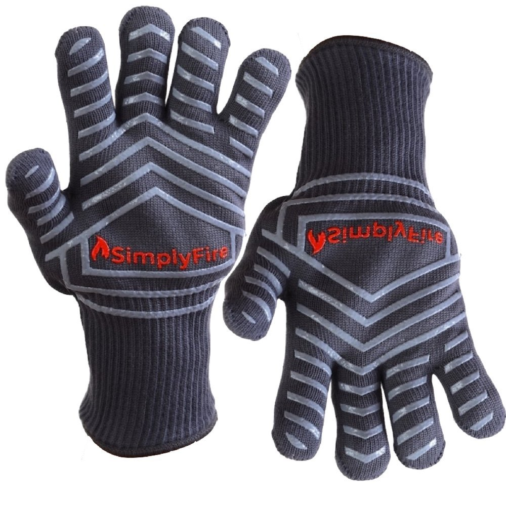 SimplyFire Cooking Gloves   Use As BBQ, Grilling & Oven Mitts   Best Gloves For Barbecue, Fireplace, Fire Pit & Dutch Oven   Extreme Heat Resistant   Kitchen & Grill Accessories (2 Gloves)