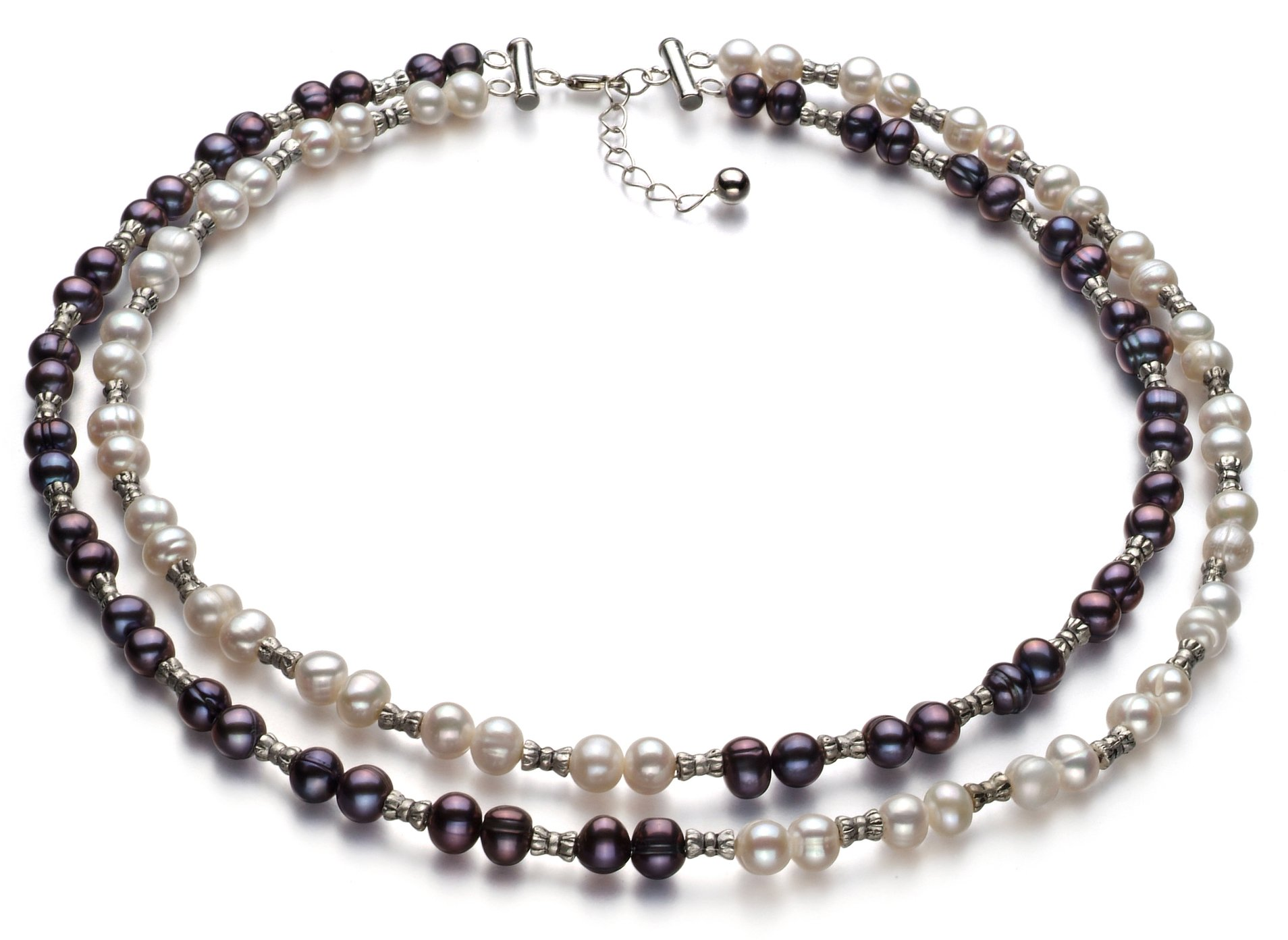 YinYang Black and White 6-7mm Double Strand A Quality Freshwater 925 Sterling Silver Cultured Pearl Necklace-18 in Princess length