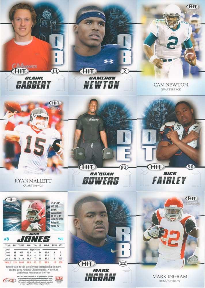 HIT 2011 Sage Football Series Complete Mint 100 Card Set Including Top Rookies Cam Newton Julio Jones Von Miller JJ Watt and Others