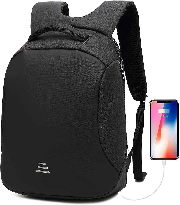 Antirrobo Seguridad Mochila portatil 15.6 Pulgadas Impermeable con Carga USB Bolso de Viaje para para Negocios Estudiantes Hombre Mujer,Negro