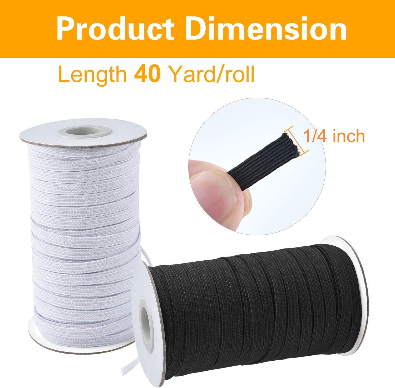 40 Yards//Roll Black, 1//4 Inch 2 Rolls Coopay 80 Yards Length 1//4 Width Elastic Cord Elastic Bands Elastic Rope Heavy Stretch Elastic Spool Knit for Sewing