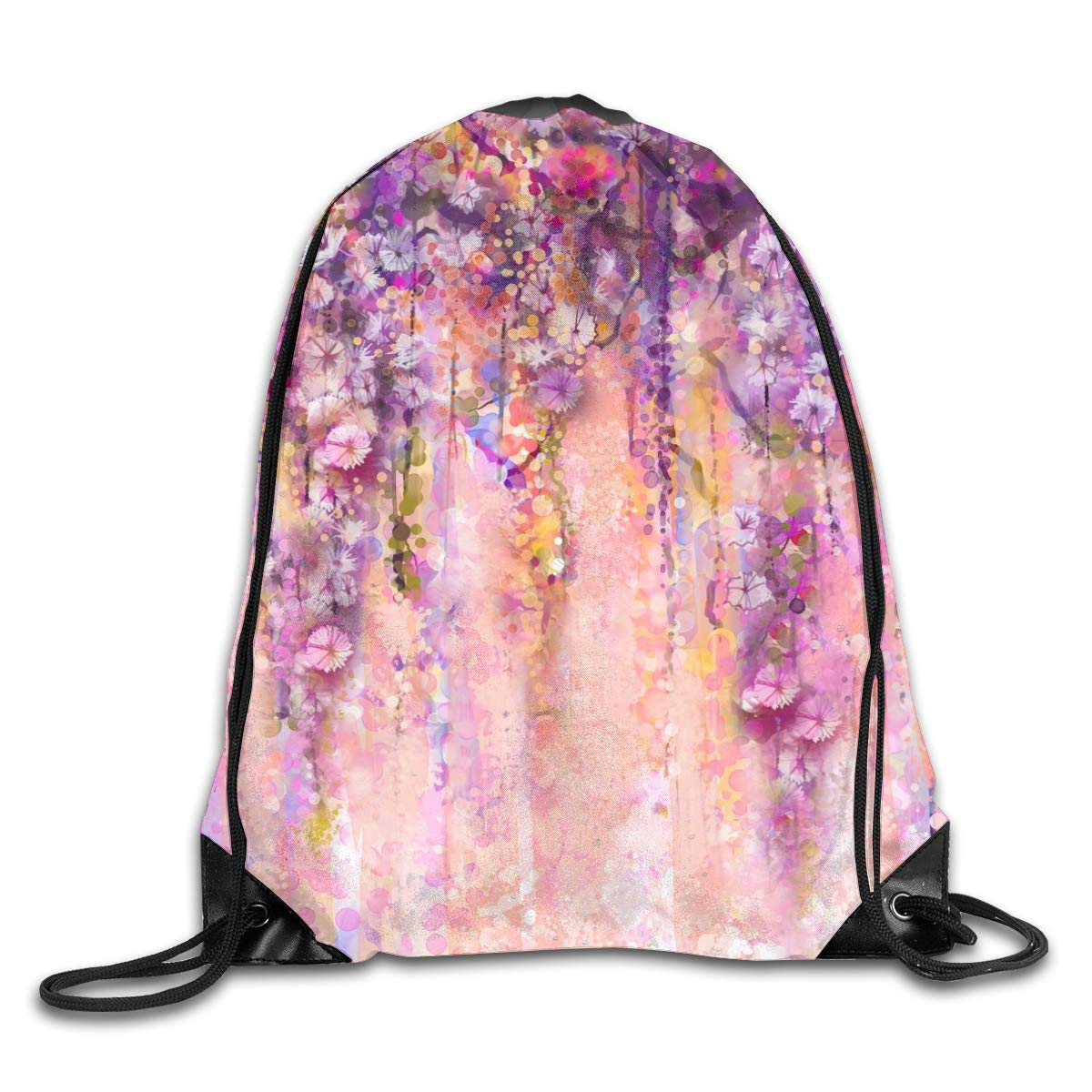 Abstract Flower Wisteria Beam Mouth Backpack Pull Rope Shoulder Bag Outdoor Sports Leisure Bag