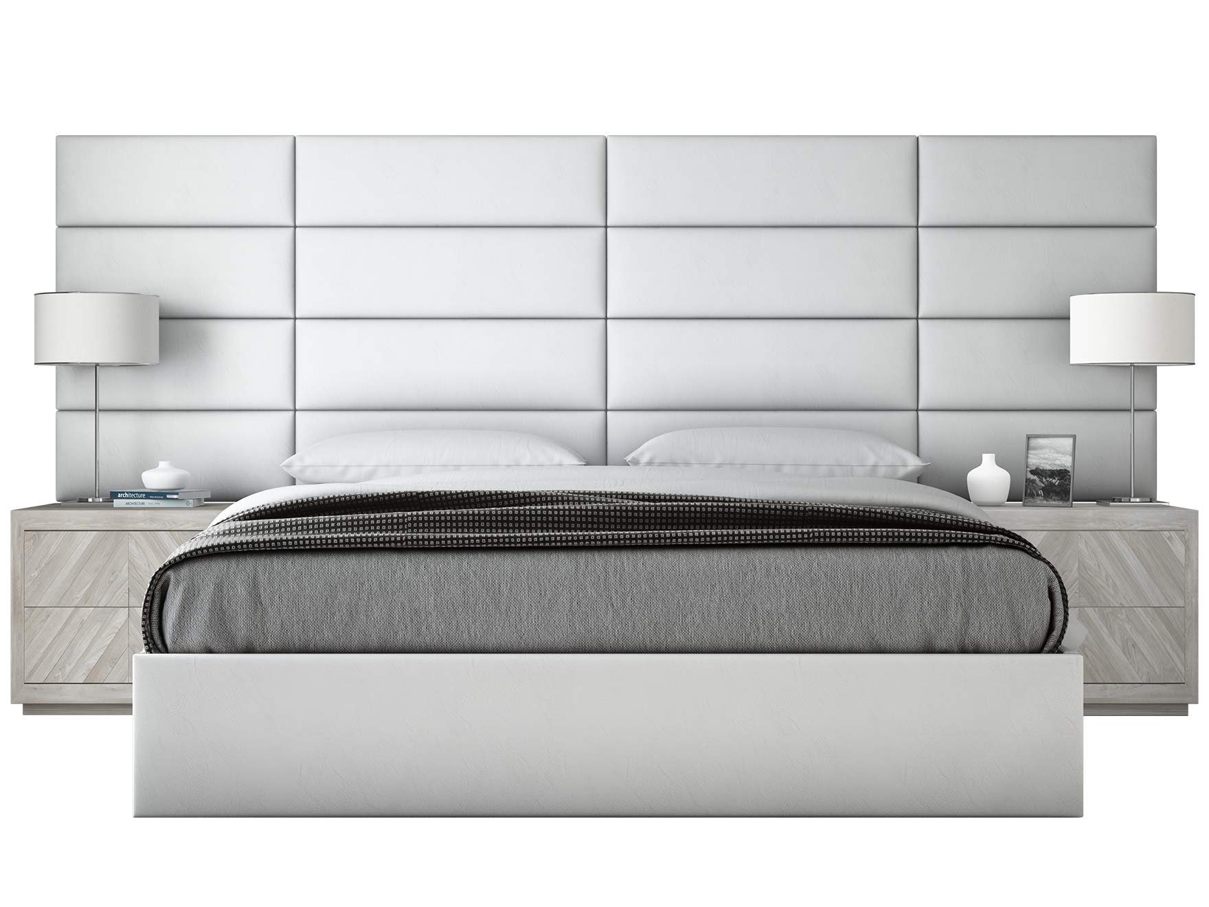 VANT Upholstered Headboards - Accent Wall Panels - Packs of 4 - Vitage Leather White Dove - 39'' Wide x 11.5'' Height - Easy to Install - Twin - King Size Headboard