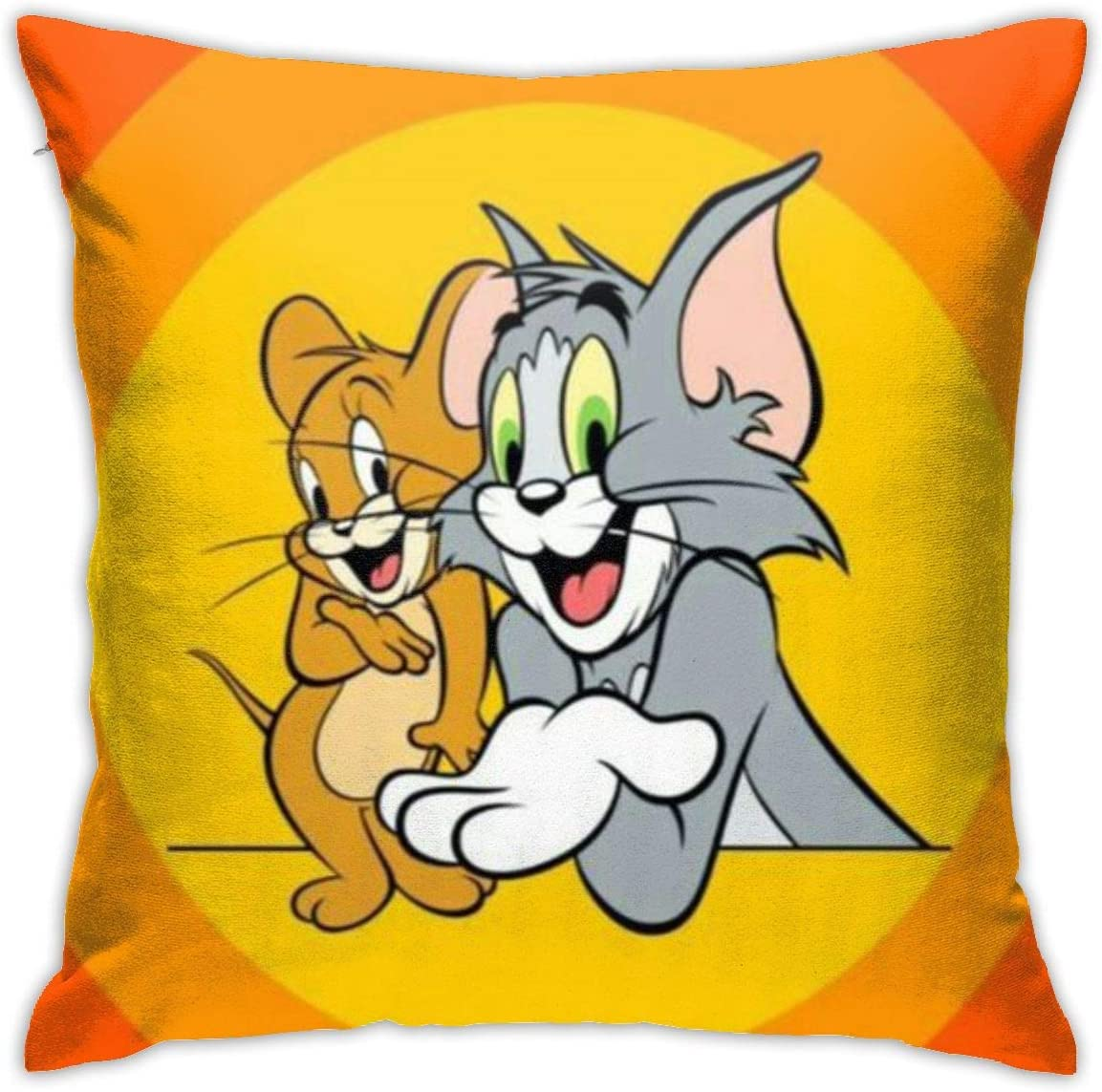 """JJSBFVB Throw Pillow Covers 18""""X 18""""inch- Tom and Jerry Fun-Square Shape Decorative Cushion Cover for Couch Sofa Pillow Set"""