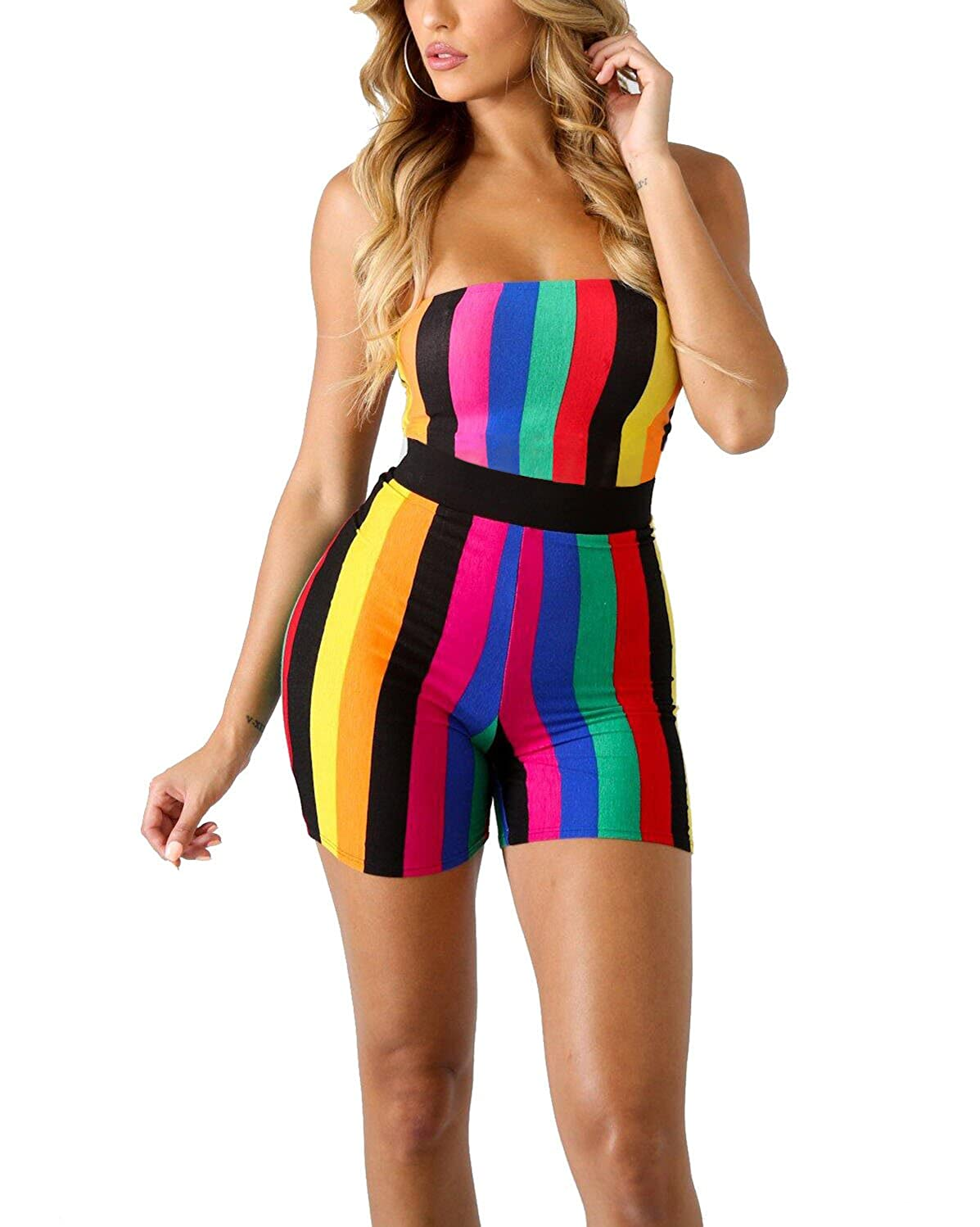 latest discount pretty nice fashionable and attractive package JiherBeauty Women's Sexy Strapless Striped Jumpsuits Rainbow Colorful  Bodycon Sleeveless Shorts Backless Rompers