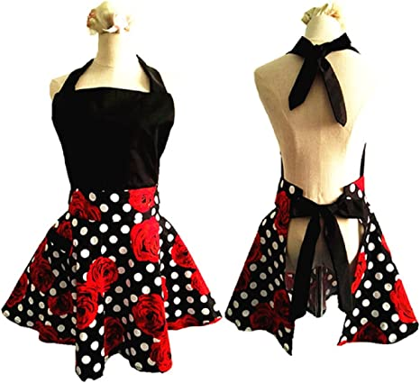 KitschNStyleAprons Plus Size Yellow Floral Apron with Black Gingham Country Style Retro Apron for Women