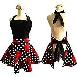 Aprons for Women Plus Size, Womans Apron Retro Vintage Kitchen Cooking Aprons with Pocket(Black+Red)