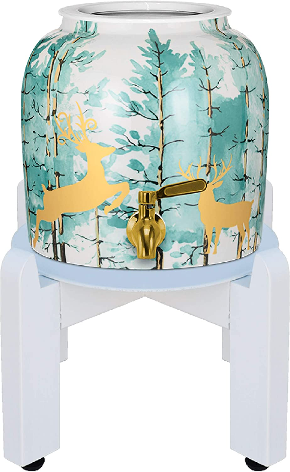 Geo Premium Porcelain Crock Water Dispenser (Nature Series) w/8 Inch Wood Stand, Ceramic Lid, Stainless Steel Spigot Included (Deer and Pine Trees Design)