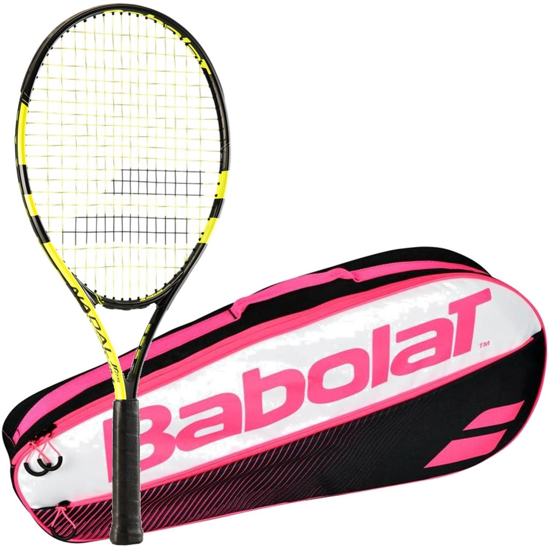 Babolat Nadal Junior 26 Inch Black/Yellow Tennis Racquet (2015 Version) Bundled with a Pink Club Three Pack Tennis Bag