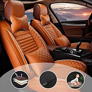 with Headrest and Lumbar Cushion Black Fit for Subaru Forester 5-Seats Car Seat Cover Protector with Waterproof PU Leather Easy to Install
