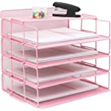 LUCYCAZ Pink Letter Tray, 4 Tier Stackable Paper Tray File Organizer for Desk, Baby Pink Metal Mesh Document Organizer for Sc