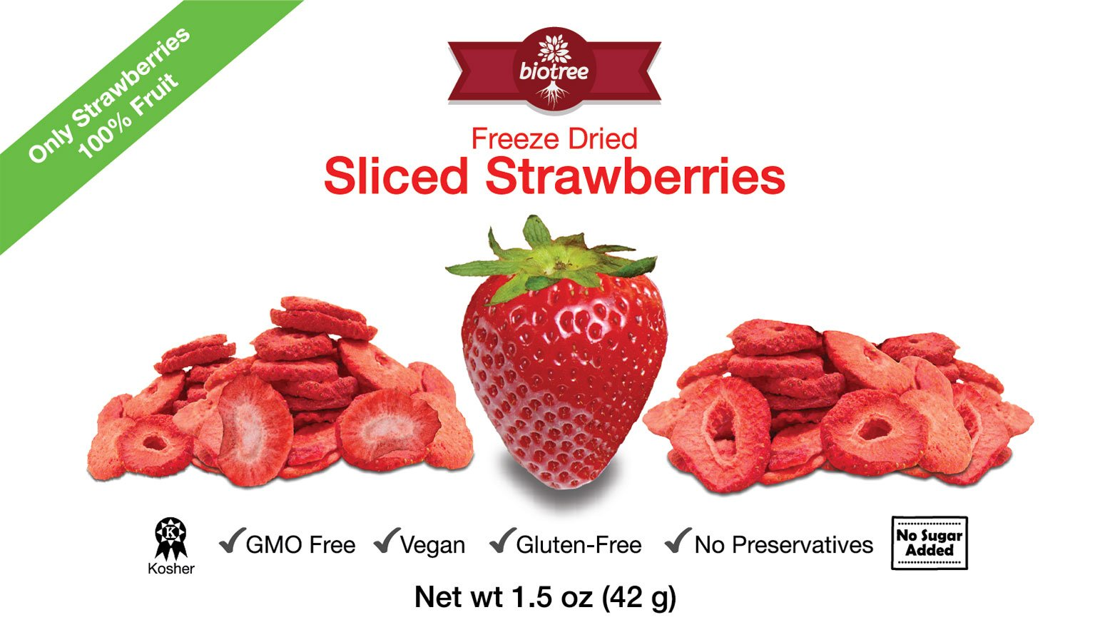 Delicious Strawberry Snack - All Natural Freeze Dried Sliced Strawberries: 100% Fruit with No Added Sugar, No Preservatives. Vegan, GMO Free, Kosher, Gluten-Free,Paleo, Delicious and Healthy Snack for Children and Adults, Tastes Great, Add to Smoothies, O by BioTree Naturals (Image #1)