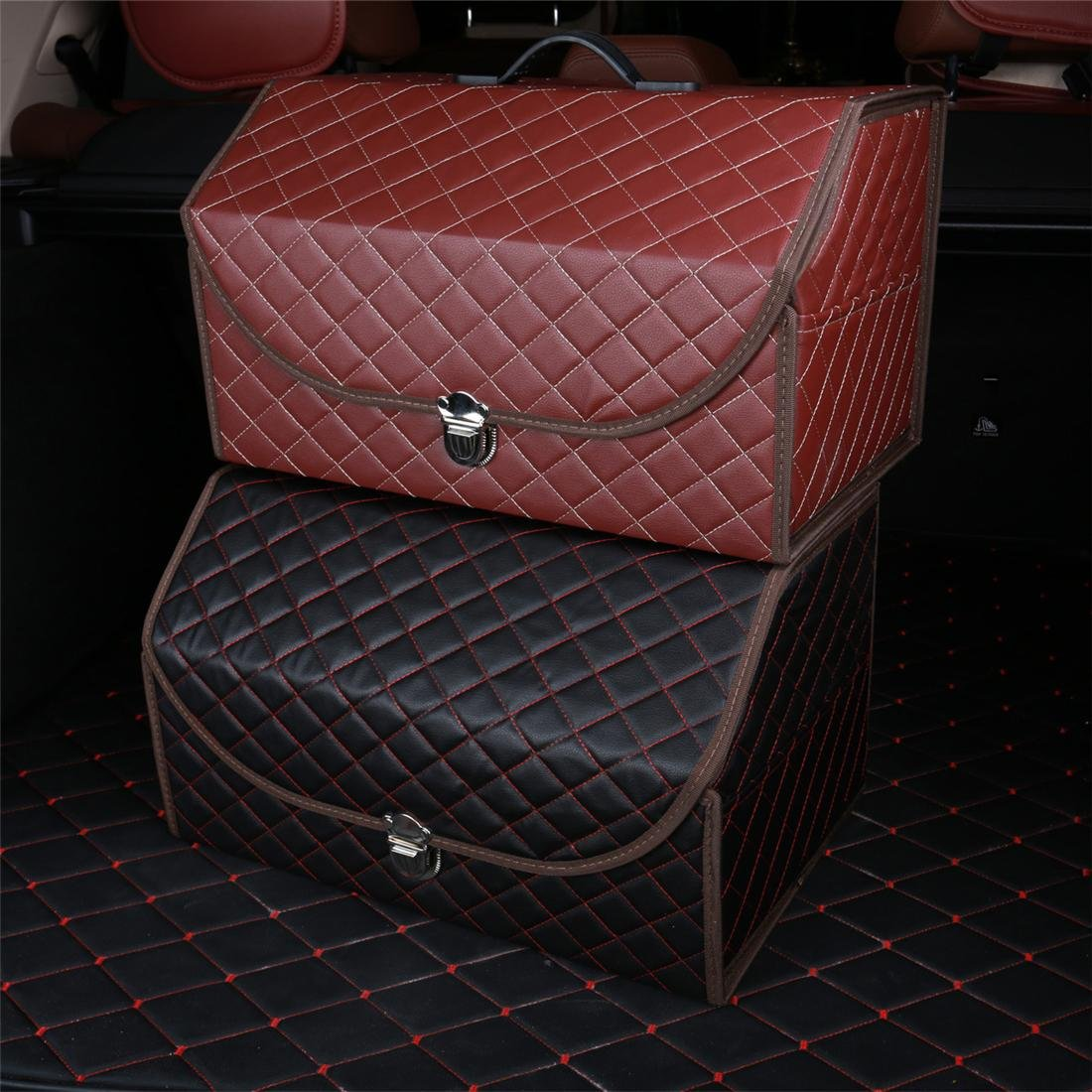 Black 2 Car Trunk Boot Box Foldable SUV Leather Storage Organiser Collapsible Auto Minivan Truck Shopping Travel Holder With Lid Handle