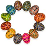 "2.5"" Set of 12 Ukrainian Hand Painted Pysanky Wooden Easter Eggs"