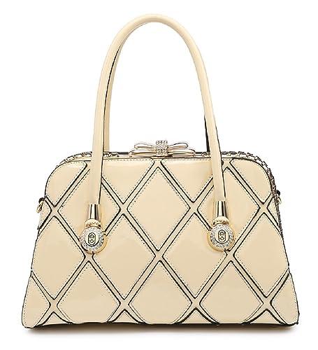 Ladies Designer Patent Work Day Bag - Women s Geometric Messenger Grab  Handbag MA35054 (Medium adb074bfe39f7